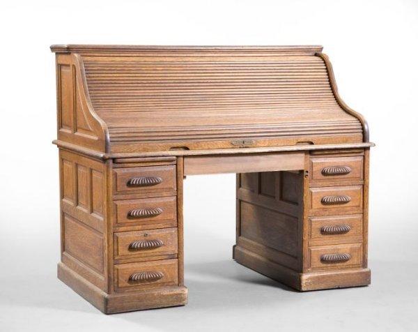 1325 Large American Quarter Sawn Oak Roll Top Desk Lot 1325