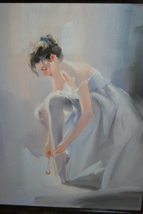 20th Century Oil On Canvas, Study Of A Ballet Dancer