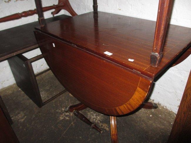 Reproduction Mahogany Drop Leaf Pedestal Dining Table Lot 2314