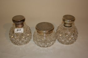 Pair Of Garrard And Co. Silver Topped Cut Glass Perfume