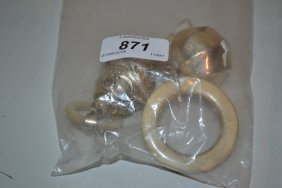 Mother Of Pearl Handled Silver Babies Rattle / Teether