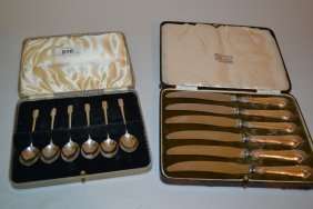 Cased Set Of Six Sheffield Silver Coffee Spoons And A