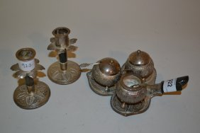 Burmese White Metal Condiment Set On Stand With Spoons