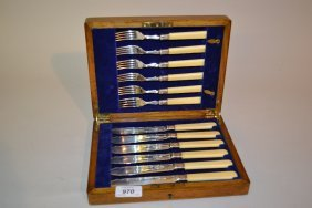 Cased Set Of Six Silver Bladed Fish Knives And Forks