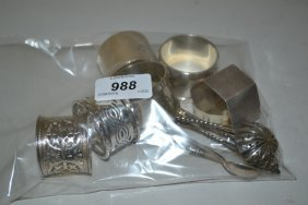 Six Various Silver Napkin Rings, A Small Silver Sifter
