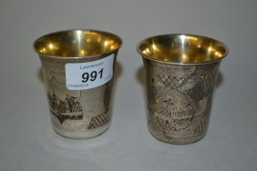 Two Russian Silver Vodka Beakers, Niello Decorated With