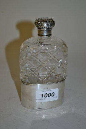 Silver Mounted Cut Glass Hip Flask