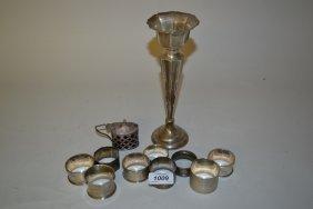 Silver Specimen Vase, Silver Mustard And Nine Various
