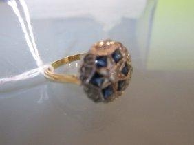 18ct Yellow Gold Circular Sapphire And Diamond Set