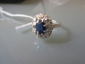 Platinum Sapphire And Diamond Set Oval Cluster Ring