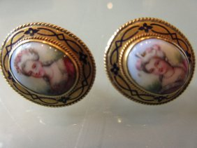Pair Of 19th Century Oval Earrings Inset With Enamel