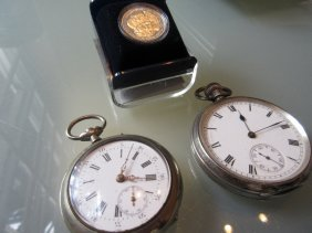 Birmingham Silver Cased Open Face Pocket Watch With