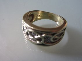 9ct Yellow Gold Diamond Chip Set Celtic Design Ring In