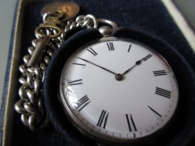 Silver Cased Open Face Pocket Watch Having Enamel Dial