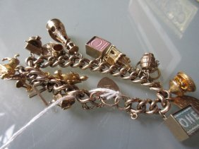 9ct Yellow Gold Charm Bracelet With A Quantity Of