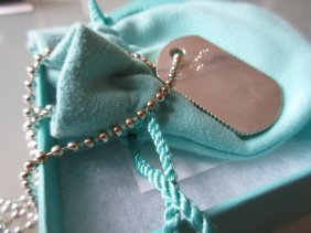 Tiffany And Co. Silver Dog Tag Pendant Necklace