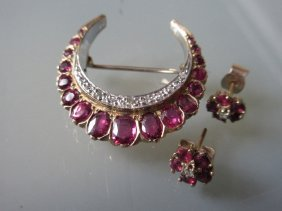 9ct Gold Ruby And Diamond Crescent Brooch Together With