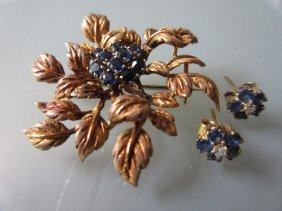Yellow Metal Sapphire Set Floral Design Brooch And A