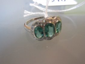 18ct White Gold Emerald And Diamond Triple Cluster Ring