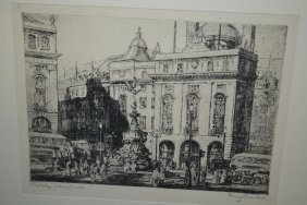 Henry Lambert, Signed Etching Of Piccadilly Circus