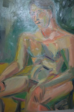 Oil On Canvas, Nude Study Of A Seated Figure, Signed