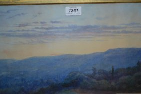 Continental Watercolour, Sunset And Mountainous