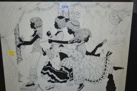 Elizabeth Whelan, Pen Drawing Of Ladies In A Boudoir,