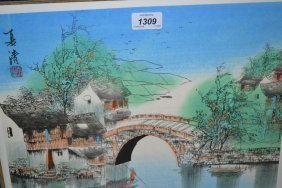 Framed Set Of Four Chinese Pictures, River Landscapes,