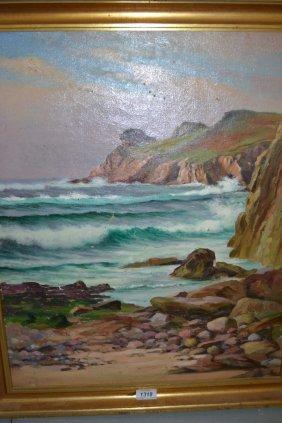Oil On Canvas, Rocky Coastal Scene, Gilt Framed And An