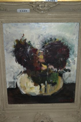 Impressionist Style Oil On Board, Flowers In A Bowl,
