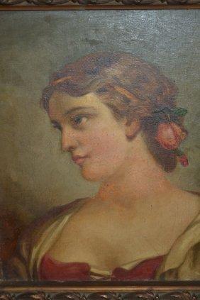 19th Century Italian School Oil On Canvas, Head And