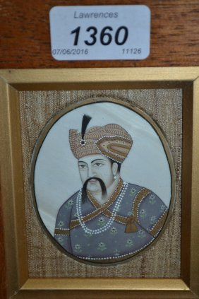 Indian School, Miniature Portrait Painting On Ivory Of