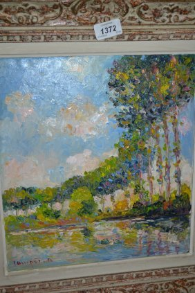 R. Lampet, Signed Oil, Impressionist View Of Trees By A