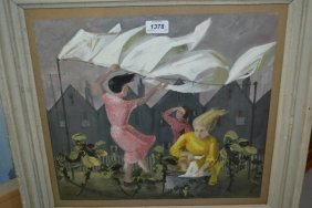 Gouache Painting, Figures Hanging Out Washing, Bearing