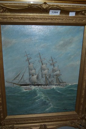S. Gunderson, Oil On Canvas, A Three Masted Sailing