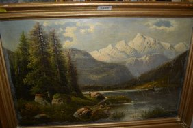 Oil On Canvas, Angler In A Mountain Landscape With