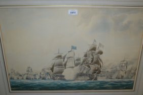 Circle Of Thomas Buttersworth, Watercolour Depicting