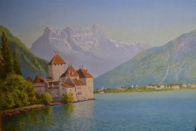 Leeson Rowbotham, Oil On Board, View Of Chillon Castle,