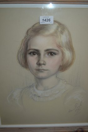 Mid 20th Century Pastel Drawing, Portrait Study Of A