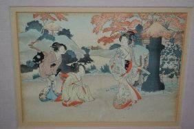 Set Of Eight Japanese Coloured Woodblock Prints Housed