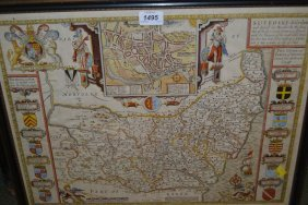 John Speed, 17th Century Hand Coloured Map Of Suffolk