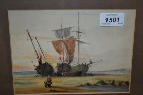 Pair Of 19th Century Watercolours Of Beached Masted