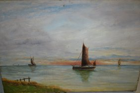 Pair Of Early 20th Century Oil On Canvas, Coastal