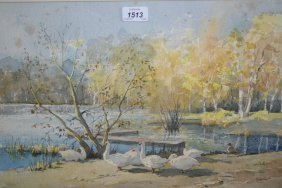 Alec Butson, Watercolour, Geese At Slaughan Pond,