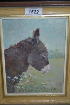 Pauline Marshall, Oil On Board, Head Study Of A Donkey