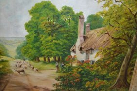 Oil On Canvas, Shepherd On A Track Before A Cottage,