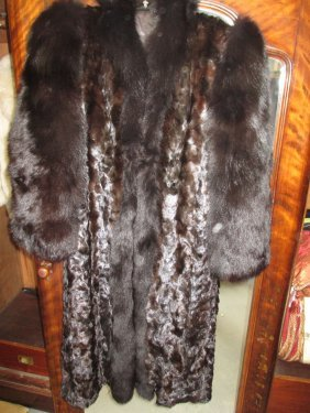 Ladies Three Quarter Length Mink Fur Coat