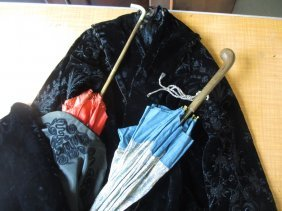 Victorian Velvet Beaded Cape And Two Silk Parasols Etc