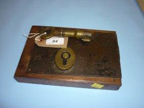 Large Antique Steel Door Lock With Key