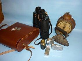 Cased Pair Of Binoculars, Small Flat Iron, An Alarm